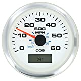 #8: Sierra International 781-625-060P White Premier Pro Gauge, 3 inch 60 MPH GPS Speedometer