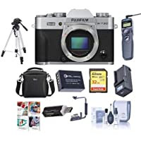 Fujifilm X-T20 24.3MP Mirrorless Digital Camera UHD 4K Video, Panorama, Silver - Bundle With Camera Case, 32GB SDHC U3 Card, Spare Battery, Tripod, Remote Shutter Release, Software Package, And More