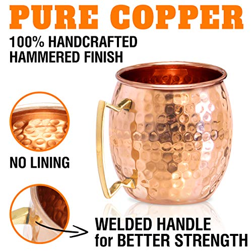 Moscow Mule Copper Mugs - Set of 4-100% HANDCRAFTED - Food Safe Pure Solid Copper Mugs - 16 oz Gift Set with BONUS: Highest Quality Cocktail Copper Straws and Jigger! by Benicci (Image #2)