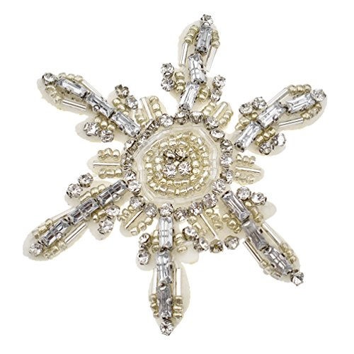 (BetterUS Snowflake Appliques With Sequins Rhinestones Patches Decoration DIY Sewing Embroideries)