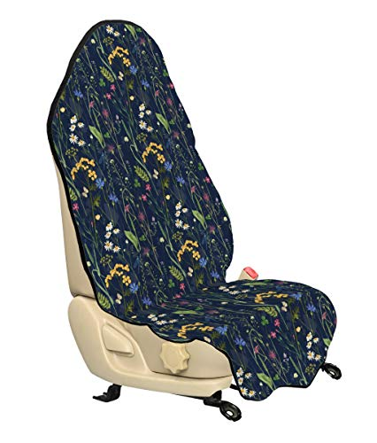 - Lunarable Paint Car Seat Cover, Botanical Beauty Floral Garden Daisy Magnolia Peony Lily Bloom Butterfly, Car Truck Seat Cover Protector Nonslip Backing Universal Fit, Night Blue Reseda Green