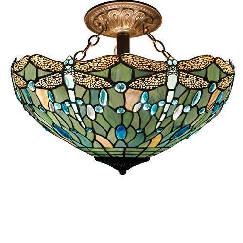 Tiffany Ceiling Fixture Lamp Semi Flush Mount 16 Inch Stained Glass Shade for Dinner Room Pendant Hanging 2 - 16 Lamp Stained Glass Inch