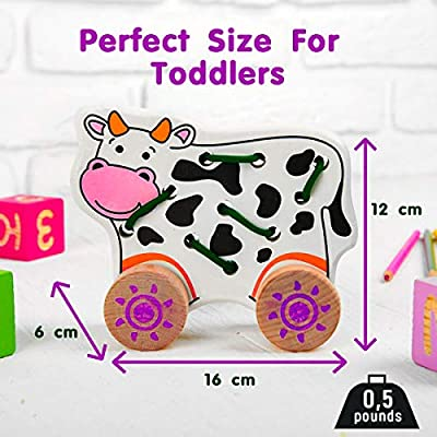 MiraToys Happy Cow Wooden Push and Pull Toy for Toddlers: Toys & Games