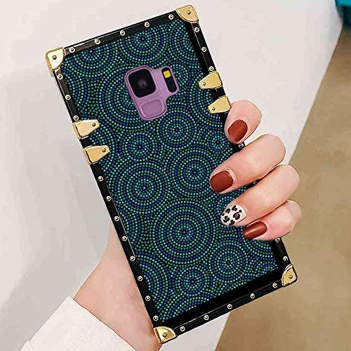 (Case Cover Fit for Samsung Galaxy S9 (2018) [5.8in] Abstract Funky Ethnic Pattern of Dots Forming Moire Round Shapes Print Seafoam Violet Blue and Black)