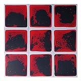 Art3d Fancy Floor Tile For Kids Room Liquid Encased Floor Tile, 12'' X 12'' Black-Red (9 Tiles)
