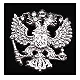 RUSSIAN COAT OF ARMS RUSSIA DOUBLE-HEADED IMPERIAL EAGLE SILVER PLATED LAPEL PIN