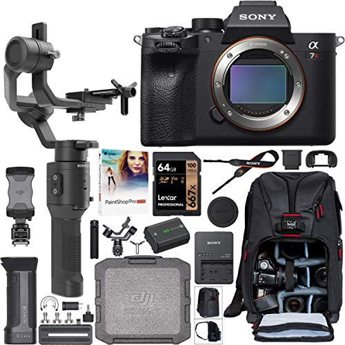 Sony a7R IV 61.0MP Full-Frame Mirrorless Interchangeable Lens Camera Body ILCE-7RM4 Filmmaker's Kit with DJI Ronin-SC 3-Axis Handheld Gimbal Stabilizer Bundle + Deco Photo Backpack + 64GB + Software