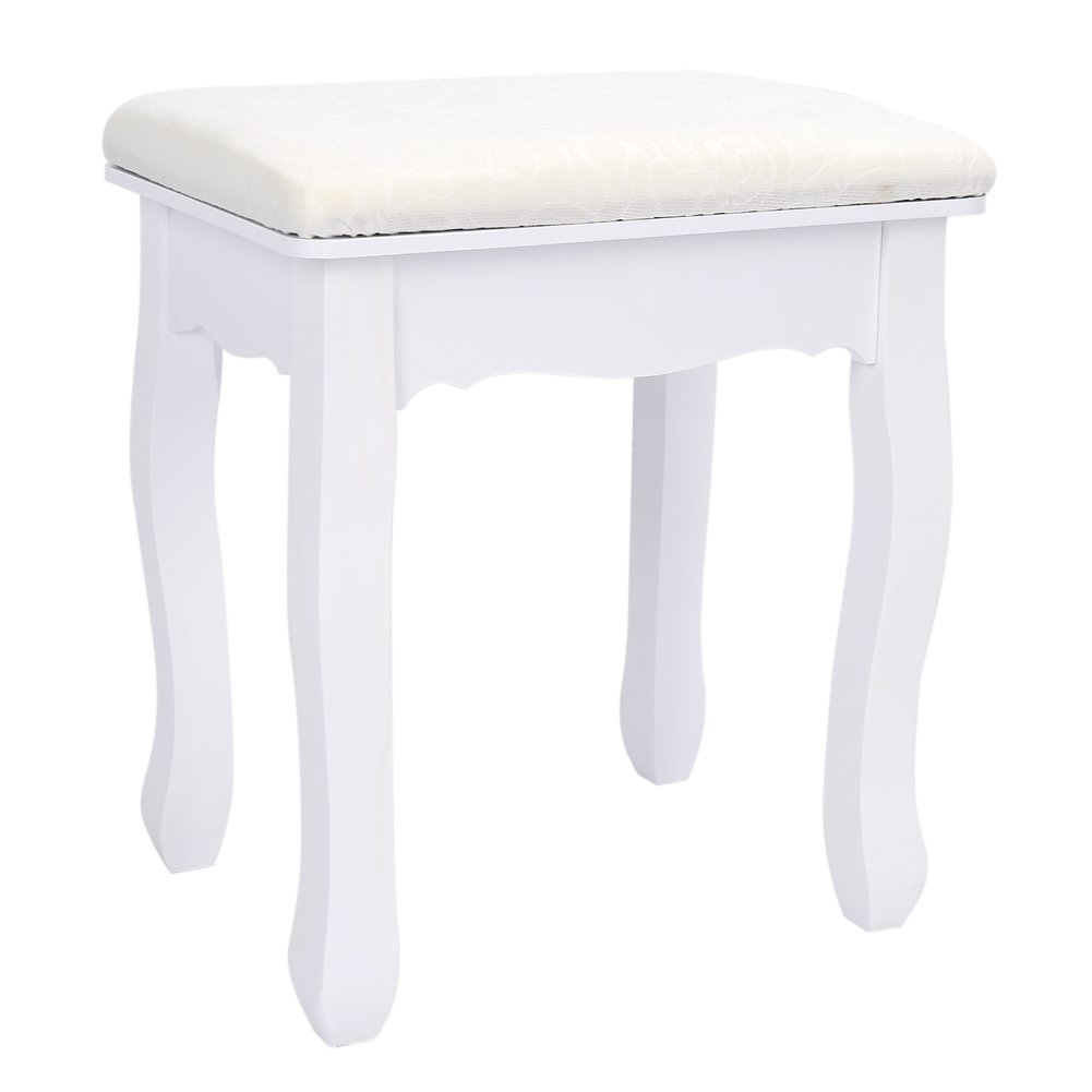 GOTOTOP coiffeuse elegante sgabello barocco bianco cuscino imbottito trucco sedile sedia da camera da letto