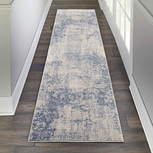 - Nourison SLE01 Sleek Textures Abstract Ivory Blue Area Rug Runner 2'2