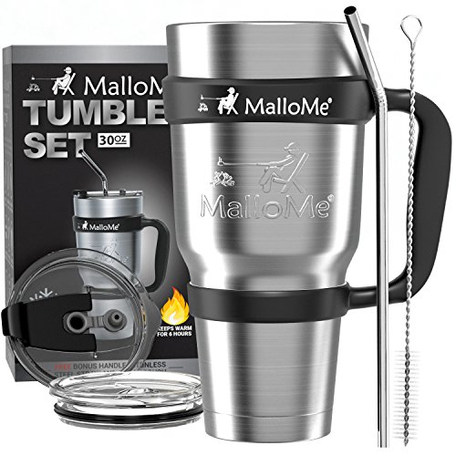 MalloMe Stainless Steel Vacuum Insulated 30 oz Water & Coffee Cup Tumbler Travel Mug, 6 Piece Set by MalloMe (Image #1)