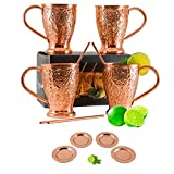 Moscow Mule Copper Mugs Embossed Party Pack of 12 - Includes 12 Pure Copper Coasters & Straws - Gift Set by Kamojo