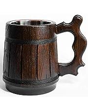 Handmade Beer Mug Handmade Wooden Tankard Beer Stein -20 oz. D&D Mug, Oak Mug With Stainless Steel Inside Eco-Friendly | Vintage Bar accessories - Barrel Brown Classic Design - Great Gift Idea for Men