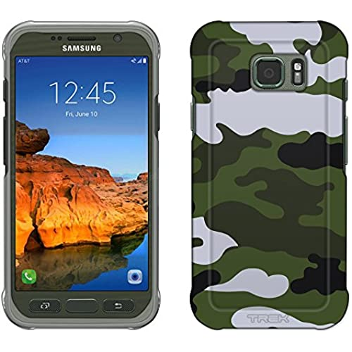 Samsung Galaxy S7 Active Case, Snap On Cover by Trek Camouflage Green White Slim Case Sales