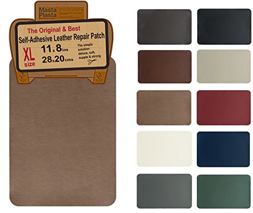 Leather Large Tan (MastaPlasta, Leather Repair Patch, First-aid for Sofas Car Seats, Handbags Jackets, Plain 8-inch by 11-inch, Tan)