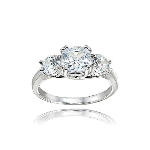 Plata de Ley Circonita cojín corte three-stone Royal boda y anillo de compromiso: Amazon.es: Joyería