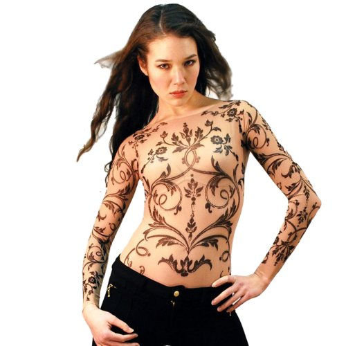 Wild Rose Ladies Filigree Tattoo Mesh Shirt, Tan