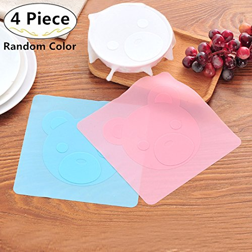 4 Piece Silicone Stretch Lids, Magnolora Reusable Durable and Heat Resistant Food Saver Covers, Stretchable Food Lids for Bowls, Cups, Pots, Can, Mason Jar