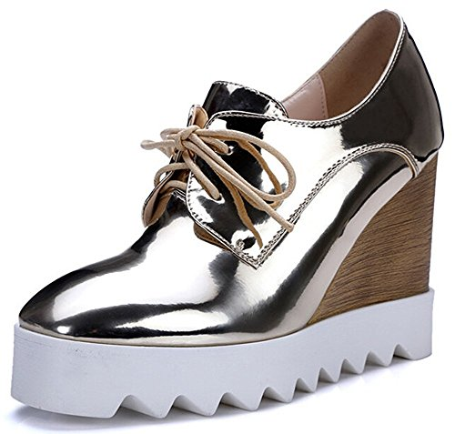 IDIFU Women's Dressy Wedge High Heel Lace Up Platform Shoes Sneakers Gold 7 B(M) US - High Heel Sneaker Shoes