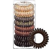 Beauty : Kitsch Spiral Hair Ties, Coil Hair Ties, Phone Cord Hair Ties, Hair Coils - 8 Pcs, Brunette
