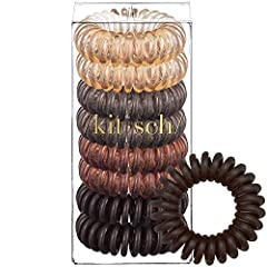 """Available in tons of colors, you'll love the Kitsch hair coils. Gentle on your hair, but holds it in place with ease. Coil ponytail holders spread the """"pressure"""" of a hair rubberband out over a greater surface area, helping to prevent breakag..."""