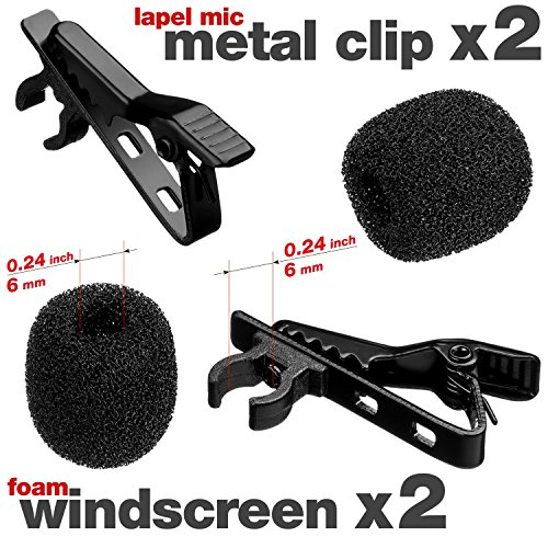 - Lavalier Microphone Clip + Foam Windscreen Cover - 2x Lapel Mic Clip + 2x Lapel Mic Cover - Lavalier Microphone Replacement Kit