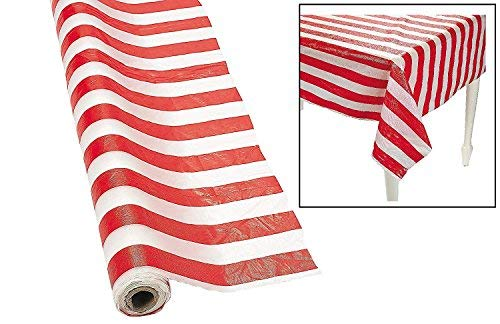 Fun Express SYNCHKG028647 Red and White Striped Tablecloth Roll 2 Pack