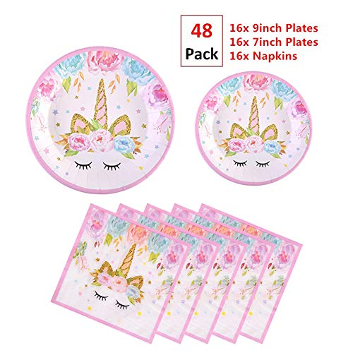 EXIJA 48 Pack Unicorn Party Plates and Napkins Set,16 9inch Dinner Plates+16 7inch Dessert Plates+16 Napkins,Perfect Unicorn Party Supplies Birthday Party Favors for Girls