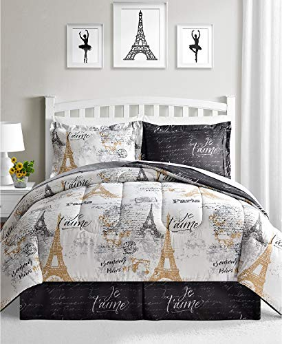 Fairfield Paris Queen Bedding Comforter Set Black and White Reversible 8 Piece Bed in a Bag Eiffel Tower Gold Design ()