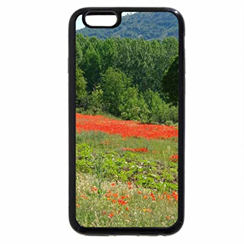 iPhone 6S / iPhone 6 Case (Black) Blanket of Poppies