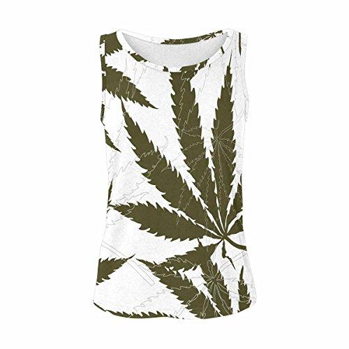 (INTERESTPRINT Hemp Marijuana Weed Women's Vest Tank Tops Sleeveless Shirt L)