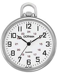 Men's Silver-Tone Ultra Thin Railroad Open Face Quartz Pocket Watch # GWC15026S
