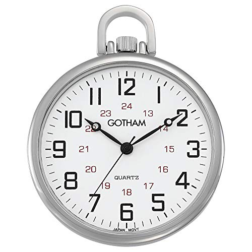 Tone Analog Pocket Watch - Gotham Men's Silver-Tone Ultra Thin Railroad Open Face Quartz Pocket Watch # GWC15026S