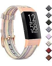 Wanme Compatibel met Fitbit Charge 4 Strap/Fitbit Charge 3 Strap, ademende geweven stof accessoires riem met klassieke gesp voor Fitbit Charge 3/Charge 4