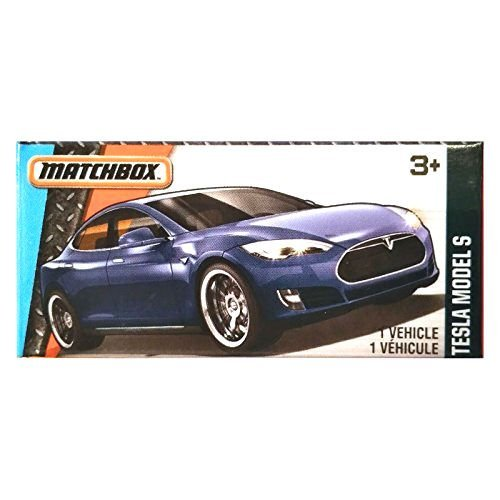 "Matchbox Power Grabs Tesla Model S Blue (1:64 Scale - approx. 3"") RARE BOXED VERSION"