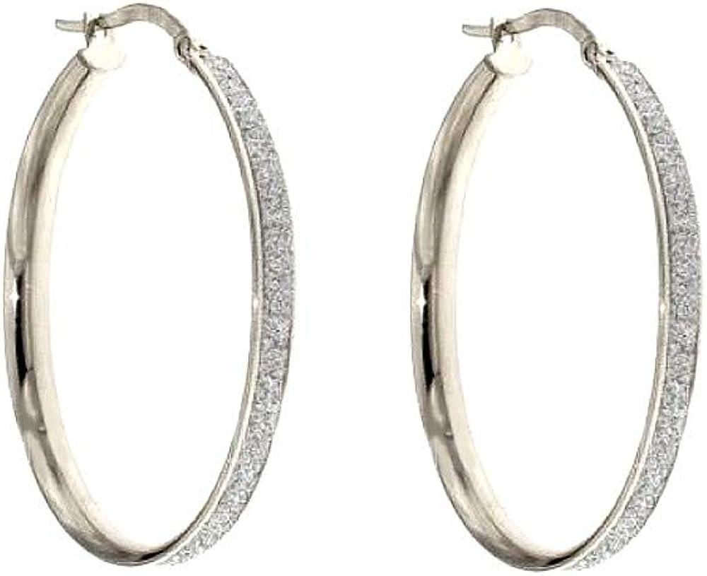 Pendientes de aro de oro blanco 18 ct 750/1000 diamantes para mujer