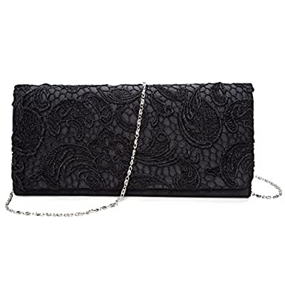 SISJULY Women's Lace Floral Clutches Evening Bags Purse for Wedding Party Bridal Handbags