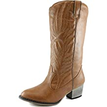 Women's DailyShoes Embroidered Legend Western Cowboy Knee High Boot