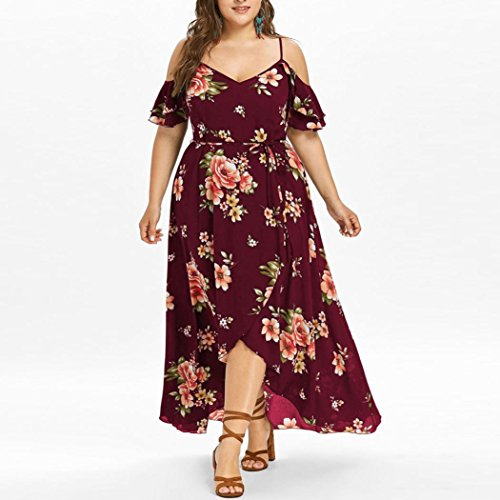 Women Dress Daoroka Ladies Sexy V-Neck Plus Size Casual Loose Floral Boho Maxi Evening Party Prom Gown Skater Skirt (3XL, Wine)
