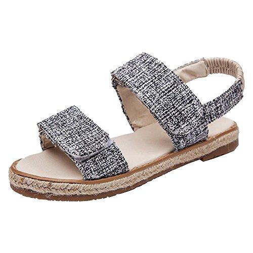 Eastlion Fashion Rattan Grass Weave Cloth Sandals Female Retro Summer Roman Beach Flat Bottles Shoes Black cWc5VyFXIk