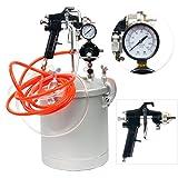 YaeTek 2 1/2 Gallon 10L High Pressure Pot Air Paint Spray Gun, 2-1/2 Gallon Pressure Tank with Spray Gun and 13-Feet Dual Hose Industrial Painting Painter