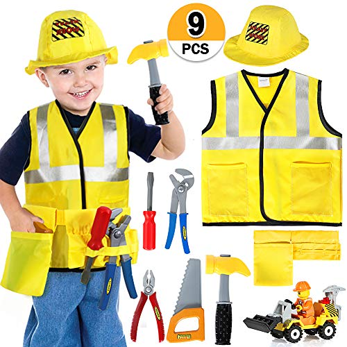 Construction Worker Costume Kids Role Play Dress up Set for 2 3 4 5 6 Years ()