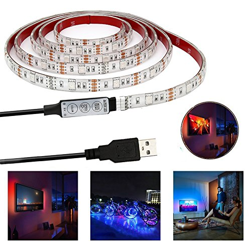 5v Strip (USB LED Light Strip 5V 3.28Ft/1M SMD 5050 RGB 30leds Waterproof Color Changing with Mini Controller for TV Backlight/PC/Power Bank/Model Decoration)