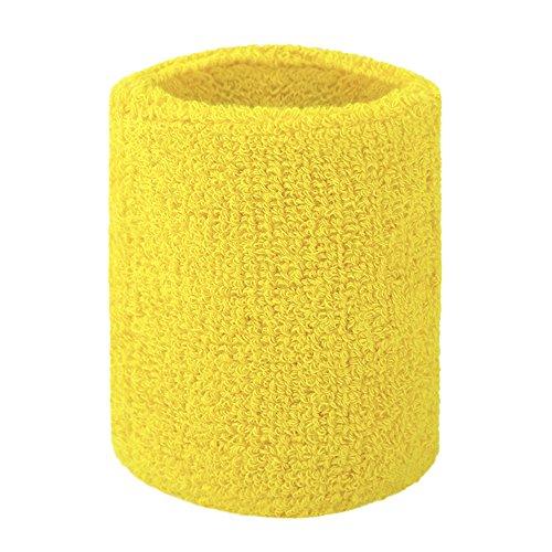 GOGO Terry Cloth Wristband Wrist Sweatband, Yellow -