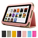 GMYLE Pink PU Leather Slim Folio Magnetic Flip Stand Case Cover with Sleep/ Wake Function for Barnes & Noble Nook HD 7