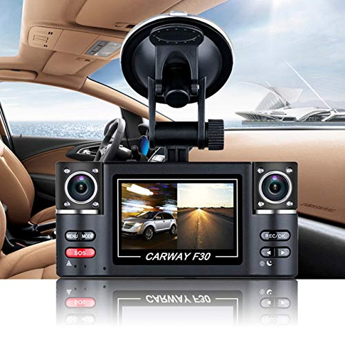 """BEESCLOVER Carway F30 Car DVR 2.7"""" TFT LCD HD 1080P Rotated Dual Lens Dash Camera Vehicle Digital Video Recorder Camcorder Night Vision Show"""