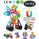 Jasonwell 133 Pieces Creative Magnetic Building Blocks for Boys Girls Magnetic Tiles Building Set Preschool Educational Construction Kit Magnet Stacking Toys for Kids Toddlers Children