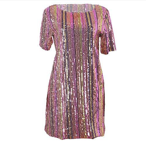 W Corta Da Pink Vestito Gonna xxl Arcobaleno Manica Splendente Con blue Donna A Mezza Righe Partito amp;tt 4B4FTqwnHr
