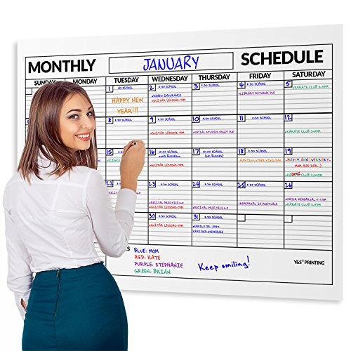 Large Dry Erase Poster Board Laminated Classroom Monthly Wall Calendar, 36-In by 48-In]()