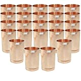 Set of 24 - Prisha India Craft ® Pure Copper Glass Cup for Water - Handmade Water Glasses - Traveller's Copper Mug for Ayurveda Benefits - CHRISTMAS GIFT ITEM