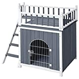Tangkula Pet Dog House, Outdoor & Indoor Dog/Cat Wooden Puppy House Room with a View, Pet Room with Stairs, Raised Roof and Balcony Bed for Small Dogs, Wooden Dog House (Large)
